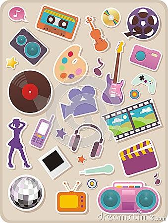 Free Set Of Entertainment Stickers Stock Photos - 8124263