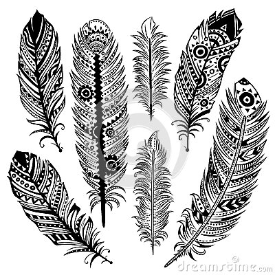Free Set Of Ethnic Feathers Stock Photos - 31050513