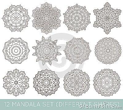 Free Set Of Ethnic Fractal Mandala Vector Meditation Tattoo Looks Lik Stock Photos - 81255923