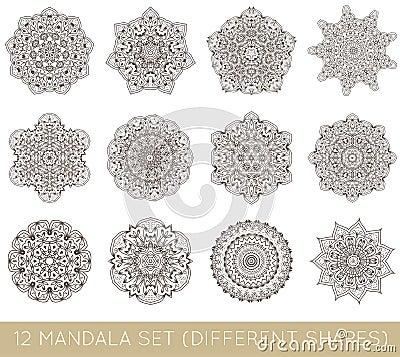 Free Set Of Ethnic Fractal Mandala Vector Meditation Tattoo Looks Lik Royalty Free Stock Photos - 83882468