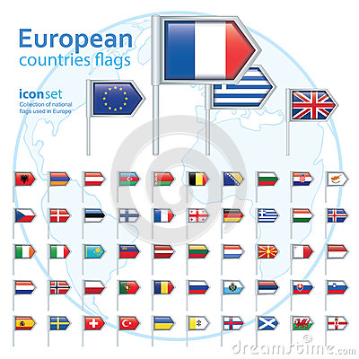 Free Set Of European Flags, Vector Illustration. Stock Image - 52833121