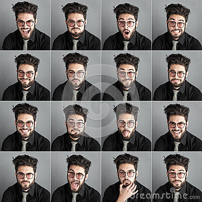 Free Set Of Expresions Of Handsome Man With Eye Glasses And Beard Royalty Free Stock Photos - 34350418
