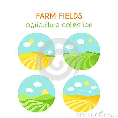 Free Set Of Farm Fields Landscapes. Round Badges With Crop In Field. Cartoon Green Field Of Sowing. Flat Argiculture Royalty Free Stock Images - 75186499