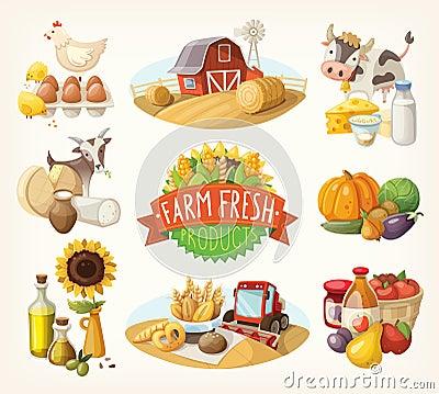 Free Set Of Farm Fresh Illustrations Stock Photos - 43218113