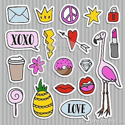 Free Set Of Fashion Patches, Badges, Pins, Stickers. Cool Trendy Hand Drawn Design. Isolated Objects Royalty Free Stock Image - 77140556