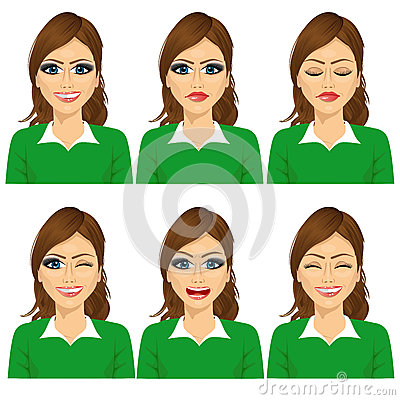 Free  Set Of Female Avatar Expressions Stock Images - 61240484