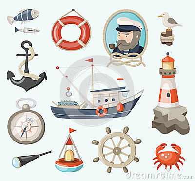 Free Set Of Fishing Items Stock Photos - 43218083