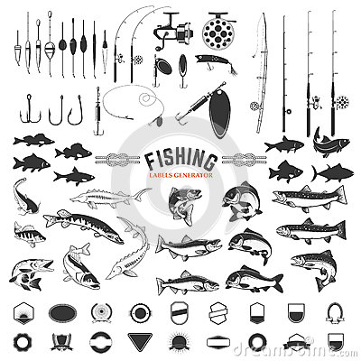 Free Set Of Fishing Labels Design Elements. Rods And Fish Icons. Des Stock Image - 80900181