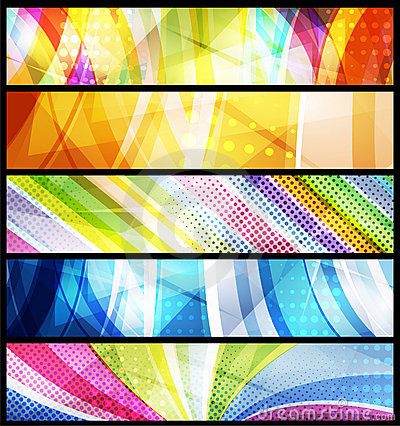 Free Set Of Five Abstract  Banners / Vector Royalty Free Stock Photos - 21461188