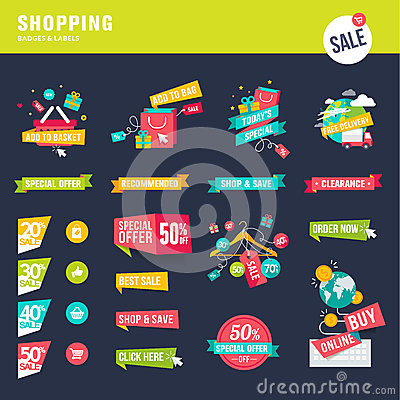 Free Set Of Flat Design Badges And Labels For Shopping Stock Photo - 45106780