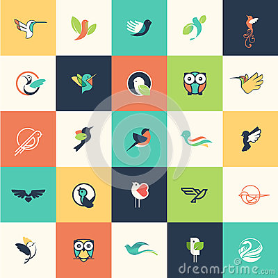 Free Set Of Flat Design Bird Icons Royalty Free Stock Photos - 47556348