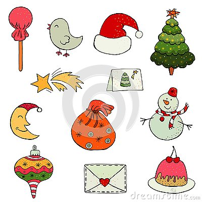 Free Set Of Flat Design Christmas And New Year Icons. Royalty Free Stock Photography - 129849257
