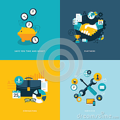 Free Set Of Flat Design Concept Icons For Business Stock Photo - 38921680