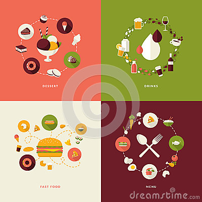 Free Set Of Flat Design Concept Icons For Restaurant Royalty Free Stock Images - 38684479