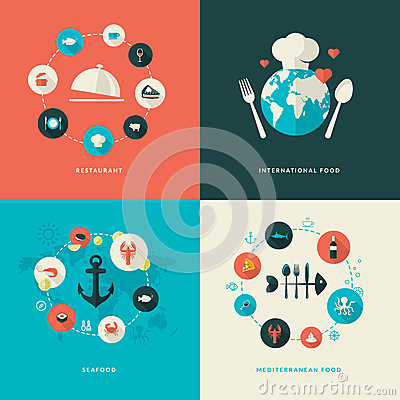 Free Set Of Flat Design Concept Icons For Restaurant Stock Photos - 39014603