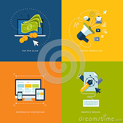 Free Set Of Flat Design Concept Icons For Web And Mobil Royalty Free Stock Image - 36467246