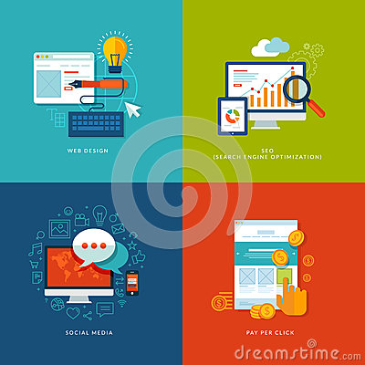 Free Set Of Flat Design Concept Icons For Web And Mobil Royalty Free Stock Photo - 36467345
