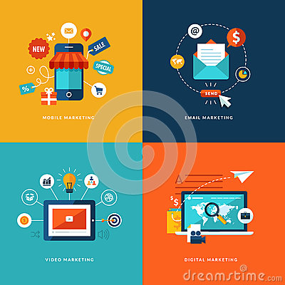 Free Set Of Flat Design Concept Icons For Web And Mobil Royalty Free Stock Image - 37974126