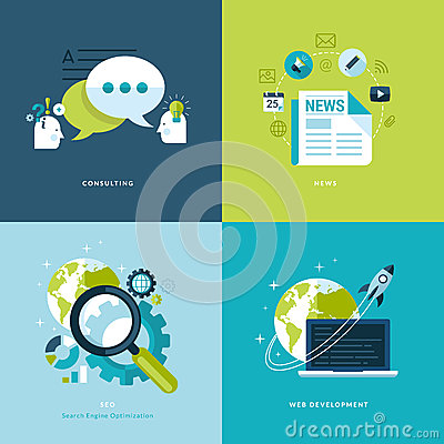 Free Set Of Flat Design Concept Icons For Web And Mobil Stock Photography - 38049692