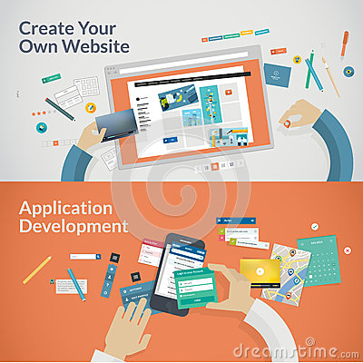 Free Set Of Flat Design Concepts For Websites And Appli Royalty Free Stock Photography - 43645037