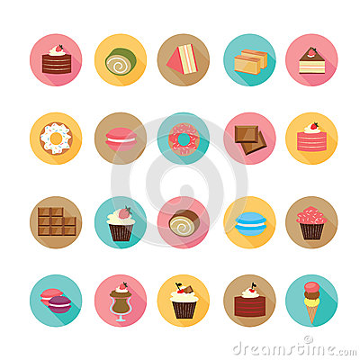 Free Set Of Flat Design Dessert Icons. Stock Images - 44406934