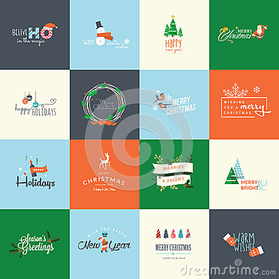 Free Set Of Flat Design Elements For Christmas And New Year Greeting Cards Stock Photos - 46546133