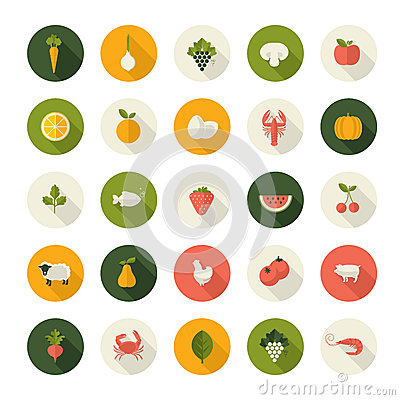 Free Set Of Flat Design Icons For Food And Drink Royalty Free Stock Photos - 38684368