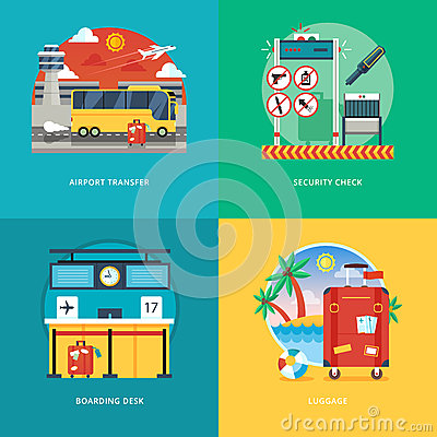 Free Set Of Flat Design Illustration Concepts For Airport Transfer, Security Check, Boarding Desk, Luggage Service. Royalty Free Stock Photography - 67614637