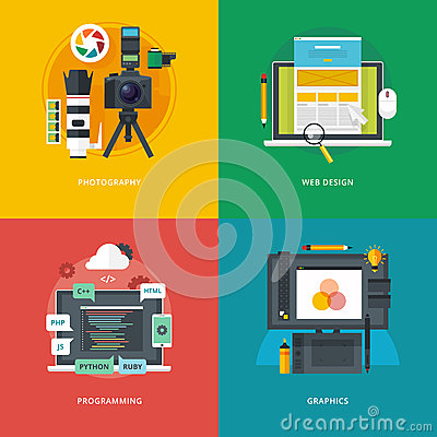 Free Set Of Flat Design Illustration Concepts For Photography, Web Design, Programming, Graphics.  Education And Knowledge Ideas. Royalty Free Stock Photo - 67614645