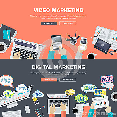 Free Set Of Flat Design Illustration Concepts For Video And Digital Marketing Stock Photography - 50888122