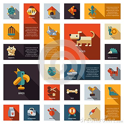 Free Set Of Flat Design Pet Shop Icons Royalty Free Stock Photography - 45551637