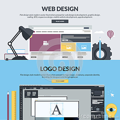 Free Set Of Flat Design Style Banners For Graphic And Web Design Stock Photos - 52761873