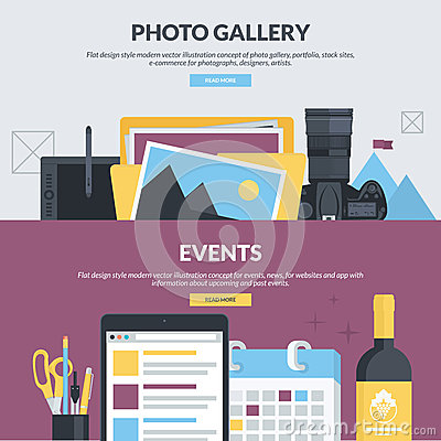 Free Set Of Flat Design Style Concepts For Photo Gallery And Events Stock Images - 52760214