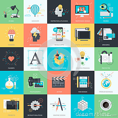 Free Set Of Flat Design Style Icons For Graphic And Web Design Stock Images - 52432814