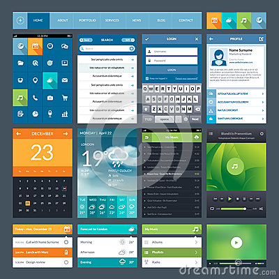 Free Set Of Flat Design Ui Elements For Mobile App And Stock Photo - 33649260