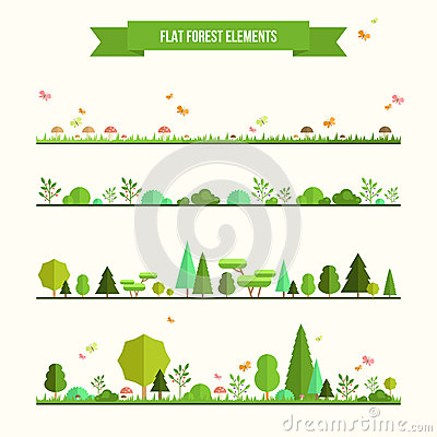 Free Set Of Flat Forest Elements Stock Photo - 50885990