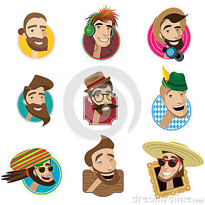 Free Set Of Flat Icons With Men Heads Royalty Free Stock Photos - 61544388