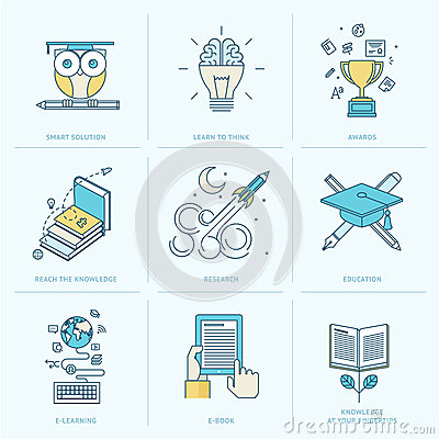 Free Set Of Flat Line Icons For Education Stock Photos - 43344353