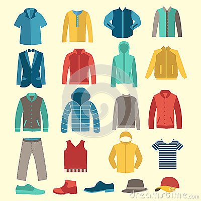 Free Set Of Flat Men Clothes And Accessories Icons Stock Photography - 50203502