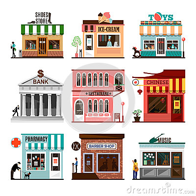 Free Set Of Flat Vector Shop Building Facades Icons Royalty Free Stock Photos - 70487828