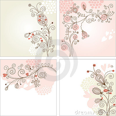 Free Set Of Floral Backgrounds Royalty Free Stock Image - 18522976