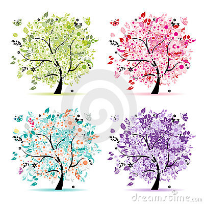 Free Set Of Floral Trees Beautiful For Your Design Royalty Free Stock Image - 17201666