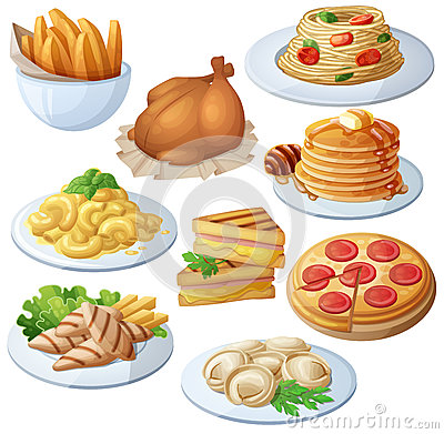 Free Set Of Food Icons Isolated On White Background. Dinner Royalty Free Stock Image - 83697926