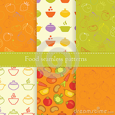 Free Set Of Food Seamless Patterns Royalty Free Stock Images - 48513709