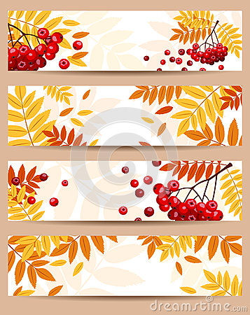 Free Set Of Four  Autumn Banners (468x120px). Royalty Free Stock Photography - 28038417