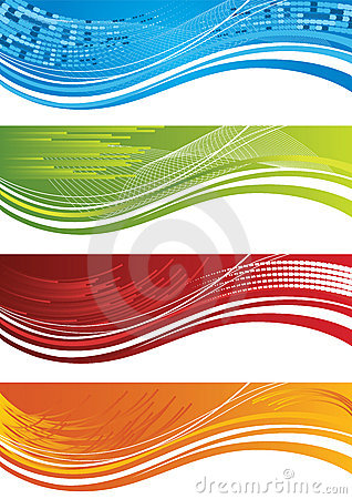 Free Set Of Four Colourful Halftone Banners Stock Image - 18150381