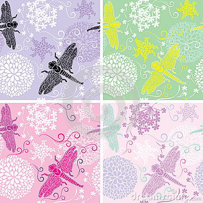 Free Set Of Four Floral Seamless Patterns With Flowers Royalty Free Stock Photography - 34293057