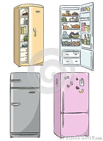Free Set Of Four Hand Drawn Cartoon Fridges. Vector Illustration. Stock Photography - 43372892