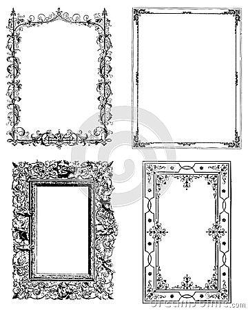Free Set Of Four Vintage Photo Frames Royalty Free Stock Image - 12624646