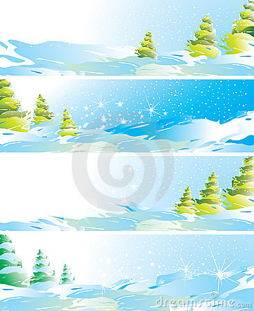Free Set Of Four Winter Landscape Banners Royalty Free Stock Photos - 11900718